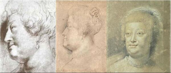 Наброски головы Марии Медичи