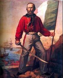 Гарибальди в красной рубашке и джинсах