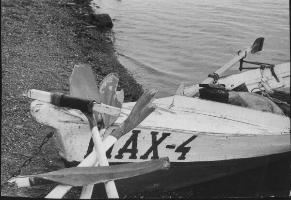 Август 1979. На Енисее не раз ломались весла на встречном течении.