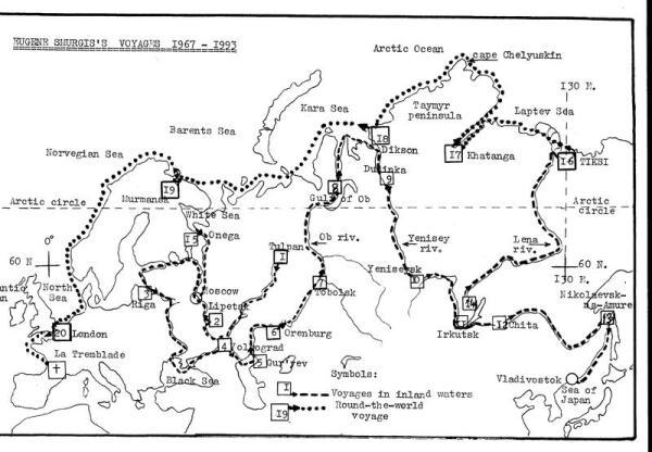 Карта маршрутов Смургиса 1967-1993 гг.