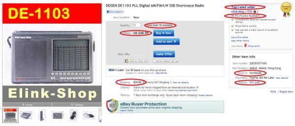 Описание товара на eBay. Наиболее важные поля выделены красным.