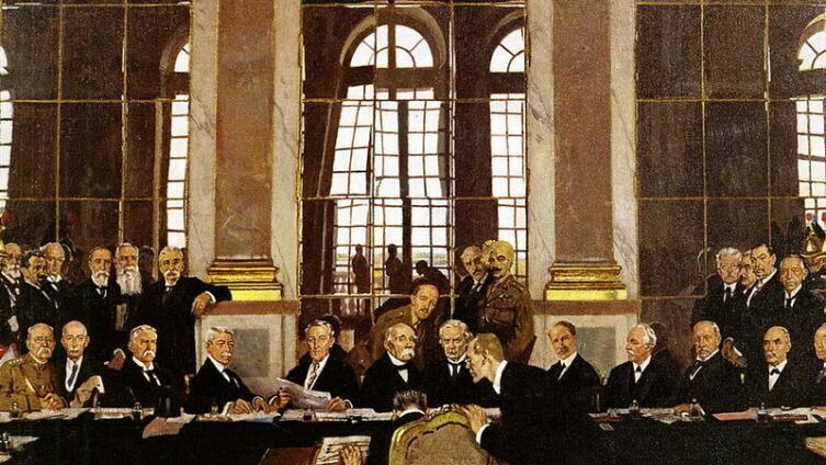 Подписание мира в Зеркальном зале Версальского дворца 28 июня 1919 года
