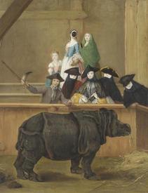 Пьетро Лонги «Носорог», 1751. Изображенный на рисунке экземпляр почему-то лишился своего рога, и теперь его держит в поднятой руке служитель зверинца