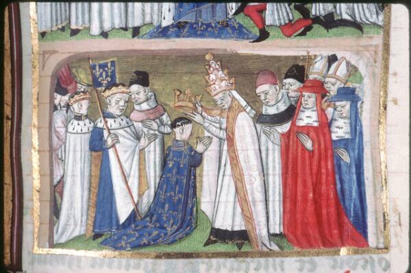 Папа Адриан I коронует Людовика как короля Аквитании. Миниатюра из «Больших французских хроник»