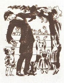 Картинка В. Конашевича из «Муркиной книги», изображающая К. Чуковского с дочерью Мурой у Чудо-дерева