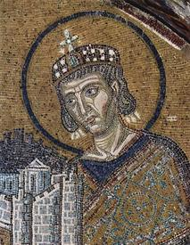 Константин Великий приносит Город в дар Богородице (мозаика).