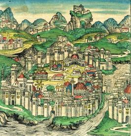 Изображение Константинополя из средневековой книги.