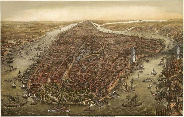 Вид на Манхэттэн, 1873.