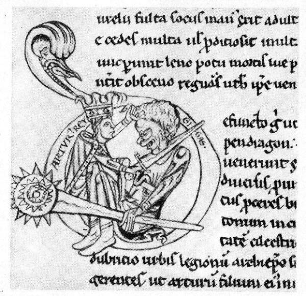 Король Артур сражается с гигантом. Миниатюра из рукописи конца XII в.