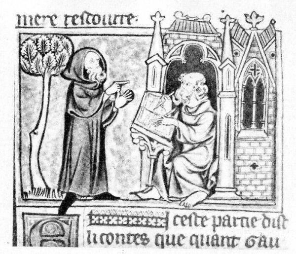 Мерлин и отшельник. Миниатюра из рукописи конца XIII в.