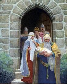 Мерлин похищает новорождённого Артура