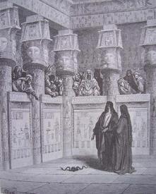 Г. Доре. Моисей и Аарон перед фараоном
