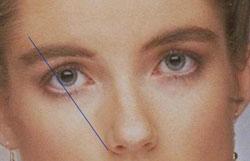 Линия 3. Определяет самую высокую точку брови