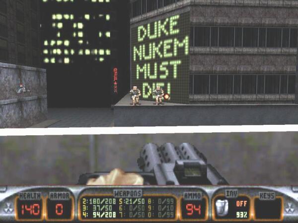 Дюк Нюкем - герой компьютерной игры Duke Nukem 3D. Монстры угрожали ему неоновой надписью