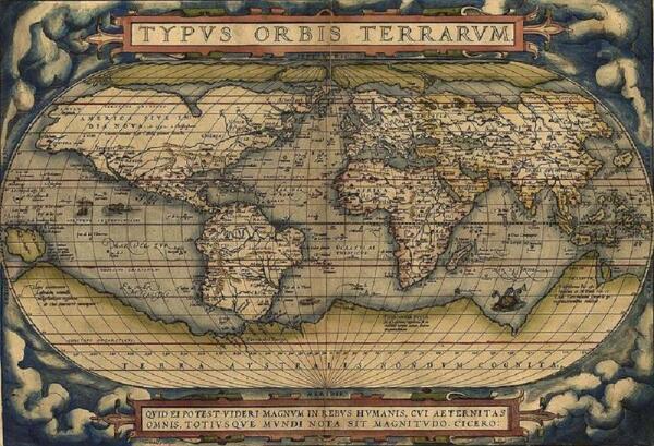 Карта мира, составленная Ортелиусом.