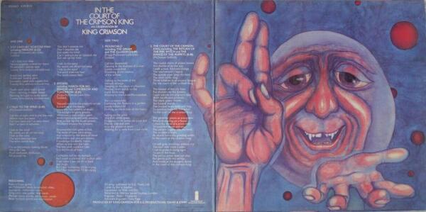 Роберт Фрипп: «На внутренней стороне обложки изображён Crimson King (Малиновый Король). Если вглядеться в его улыбающееся лицо, в глазах обнаружится невероятная печаль. Что тут можно добавить? Это отражает нашу музыку»