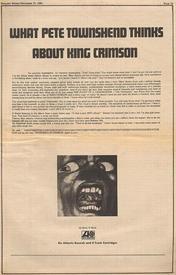 Статья из«Роллинг Стоунз», где Пит Таушенд назвал дебютный альбом КРИМСОН «сверхъестественным шедевром»