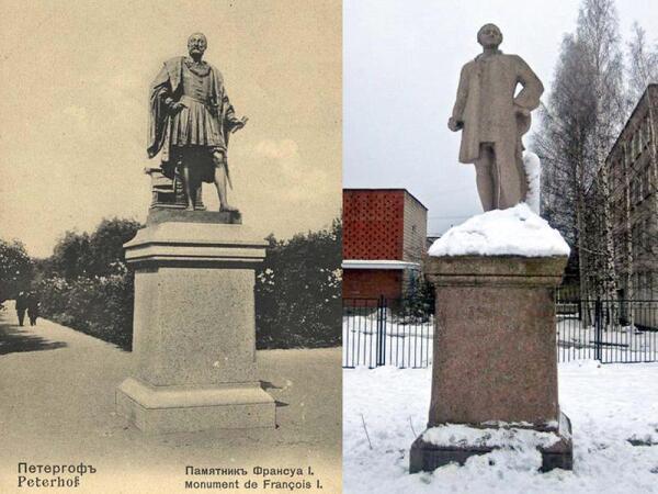 Памятники Франциску I в Петергофе (не сохранился) и Ломоносову в Ломоносове объединяет схожесть очертаний постаментов
