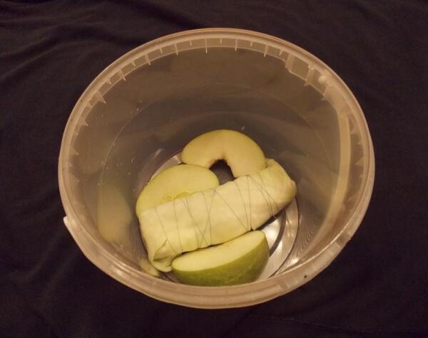 Укладываем на дно ёмкости закваску и разваленное на четвертинки кислое яблоко