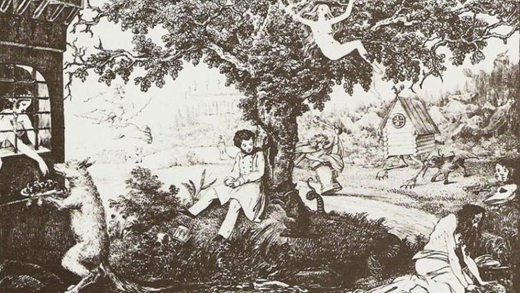 Пушкин у Лукоморья с героями сказок (в правом нижнем углу «чахнет» вполне упитанный Кощей)