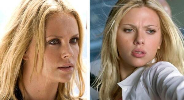 Красавицы-блондинки - актрисы Шарлиз Тэрон и Скарлет Йоханссон