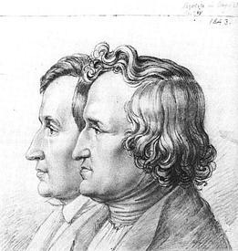 Якоб и Вильгельм Гримм на портрете, нарисованном их братом Людвигом Эмилем Гриммом