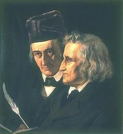 Вильгельм (слева) и Якоб (справа) Гримм на портрете 1855 года работы Элизабет Йерихау