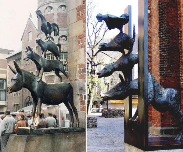 Памятники бременским музыкантам в самом Бремене и его городе-побратиме— Риге
