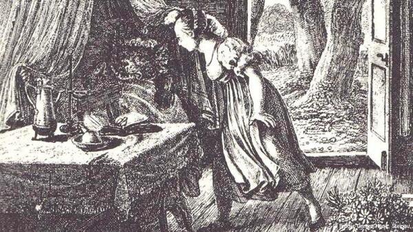 В иллюстрациях Людвига Гримма к детскому изданию сказок своих братьев на столе бабушки Красной Шапочки появилась