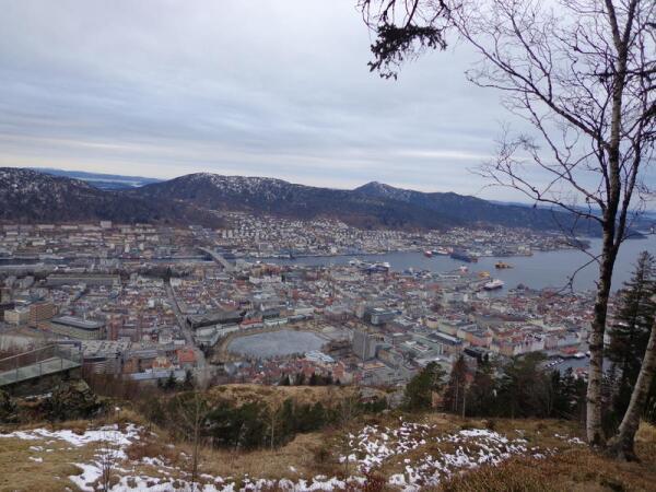 Вид на Берген с горы Флёен