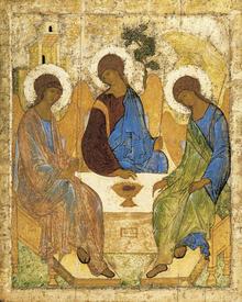 Знаменитая икона А.Рублева изображает момент посещения Авраама Богом и двумя ангелами. Дом на заднем плане - шатер, а дерево - символ дубравы Мамре, возле которой жил праотец
