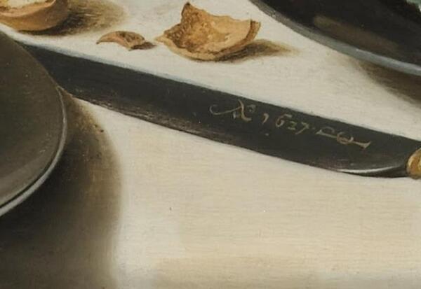 Питер Клас. Натюрморт с индюком. Фрагмент. Монограмма и дата