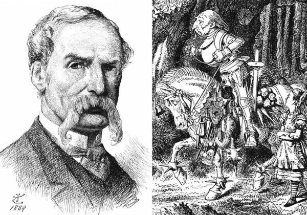 Нетрудно заметить, что в образе Белого Рыцаря (справа) Тенниел сделал шарж на себя (слева - автопортрет)