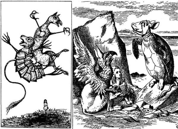 Слева - рисунок Кэрролла из рукописи, справа - рисунок Тенниела из книги