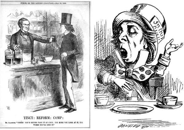 Слева - карикатура Тенниела на Дизраэли в журнале