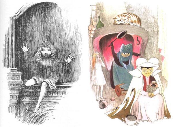 Иллюстрации Мервина Пика (1946) и Туве Янссон (1966)