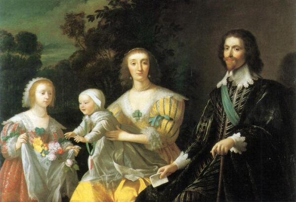 Gerard van Honthorst. The Duke of Buckingham and his Family, 1628, 145.4 × 198.1 cm, National Portrait Gallery London England