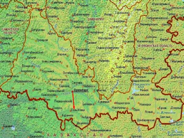 Соль-Илецк на карте