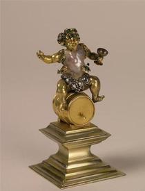 Вакх на бочке. Жемчуг, золото, серебро, эмаль, бриллианты, позолота, высота 9 см, Grünes Gewölbe
