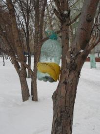 Простейшая кормушка наполнена, и зимой птицам выжить будет легче!