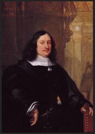 Филип Фройтерс (Philip Fruytiers), Портрет Давида Тенирса в черной мантии с белым воротником, с левой рукой на кресле, 1655