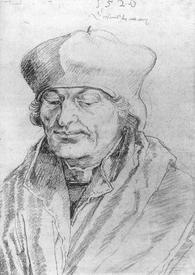 Альбрех Дюрер, портрет Эразма Роттердамского, 1520, бумага, черный мел, Лувр, Париж, Франция