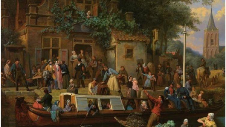 Валентин Бинг, Станция на канале в Утрехте, 1853, частная коллекция