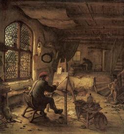 Адриан ван Остаде: Художник в мастерской, 1668, 38х36 см, Gemäldegalerie Alte Meister, Дрезден, Германия