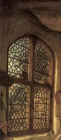 Адриан ван Остаде: Художник в мастерской, 1668, Фрагмент, Витраж