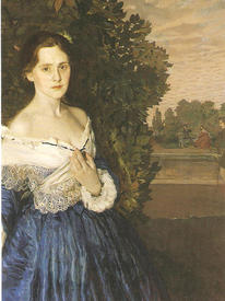 К. А. Сомов. Дама в голубом (открытка)
