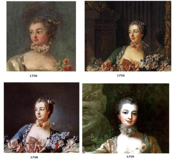 Голова мадам Помпадур на портретах разных лет