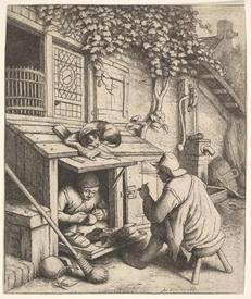Адриан ван Остаде, Башмачник, 1671 год, 189х151мм, Метрополитен музей,          Нью-Йорк, США.