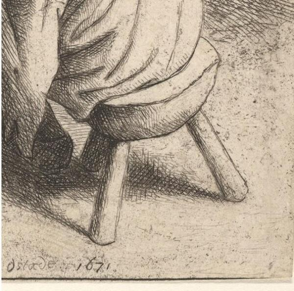 Адриан ван Остаде, Башмачник, Фрагмент «Трехногая табуретка»
