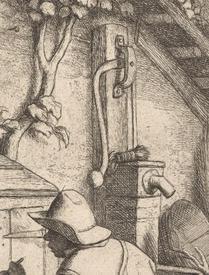 Адриан ван Остаде, Башмачник, Фрагмент «Водоразборная колонка»